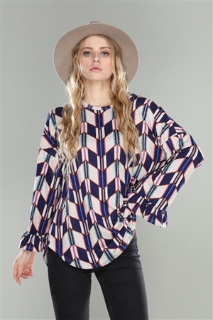 NAVY GEOMETRIC PRINT RELAXED FIT FLOUNCE SLEEVES KNIT TOP
