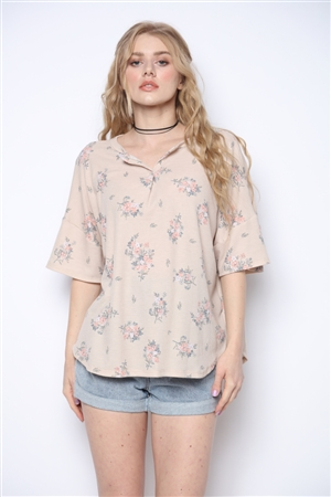 BEIGE WAFFLE TOP WITH FLORAL MOTIF T1909-4