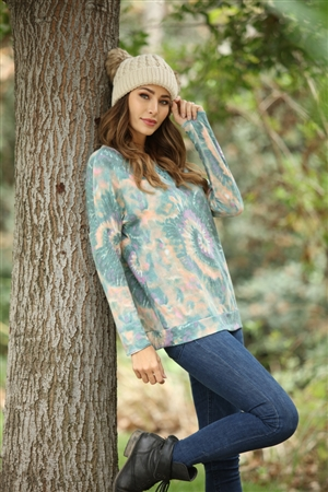 B5251 TEAL BATIK RELAXED FIT KNIT TOP 1S