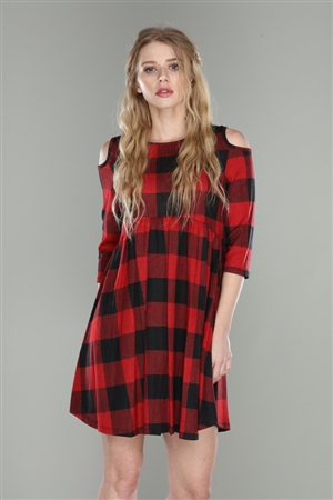 RED PLAID FLANNEL KNIT COLD SHOULDER SHIFT DRESS  2M, 2L