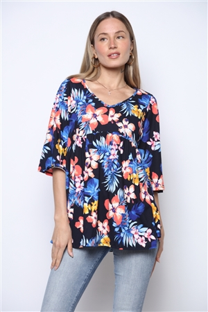 NAVY ROYAL TULIPS TROPICAL PRINT SHIFT TOP  ST709-F