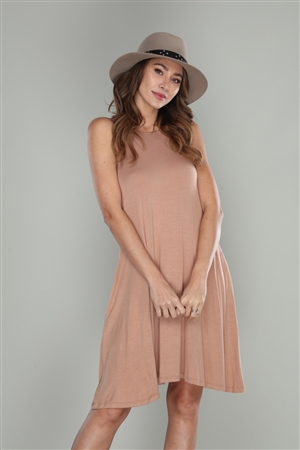 SEPIA BROWN  SLEEVELESS SHIFT DRESS  VC5257