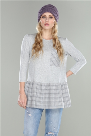 HARBOR GREY PLAID TUNIC TOP