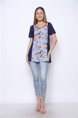 NAVY BLUE FLORAL PRINT TOP ST831-2