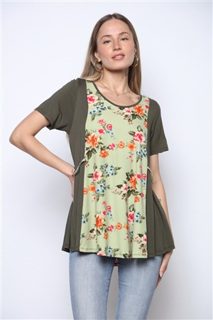 MOSS/OLIVE FLORAL  PRINT TOP ST831-2