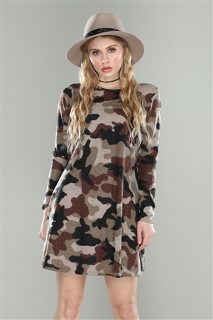 CAMOUFLAGE FLEECE KNIT SHIFT MINI DRESS
