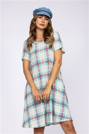 MINT WHITE MADRAS PRINT SHIFT DRESS  D1820-11