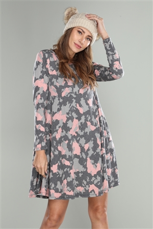 CHARCOAL/PINK CAMOUFLAGE COW PRINT SHIFT DRESS