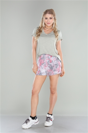GREY CORAL MEDALLIONS TIE DYE PRINT SHORT  PC5179