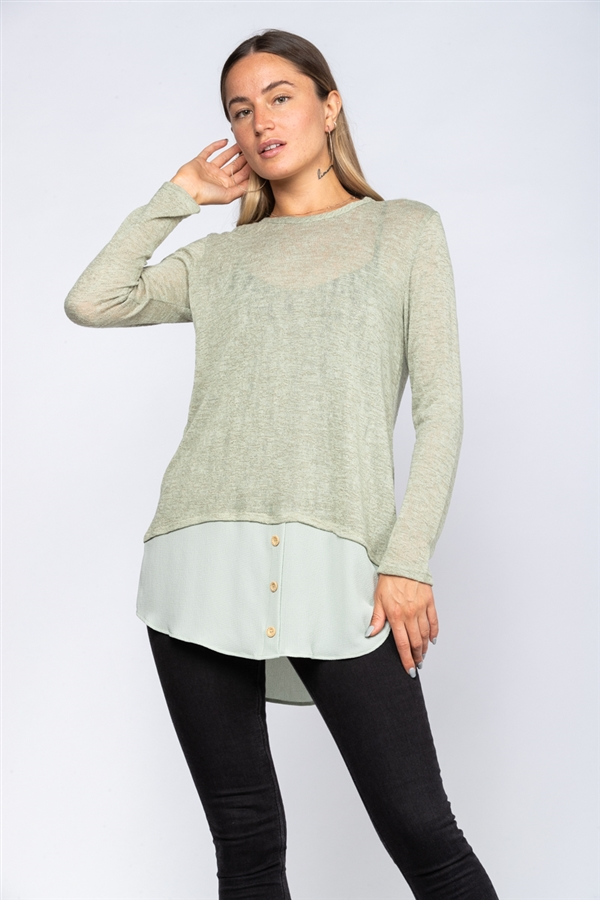 OLIVE SHIFT TUNIC TOP  TY2229  (3M-4L)