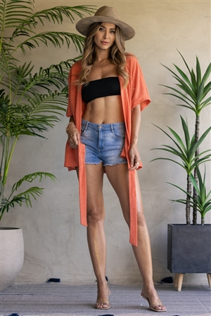 CARROT ORANGE FRONT TIE ROBE CARDIGAN  JT8087