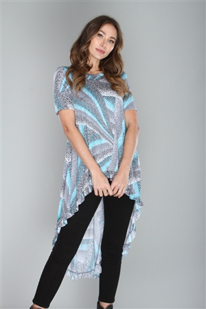 JADE/GREY  ANIMAL PRINT KNIT HI-LOW TUNIC TOP  B3883