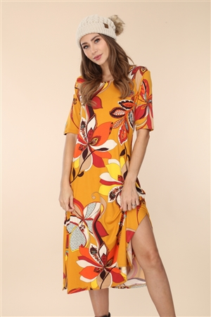 D1785 MUSTARD PAISLEY FLORAL 3/4 SLEEVE MIDI DRESS
