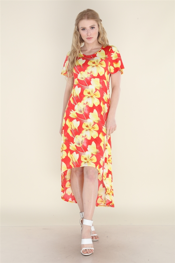 ORANGE/YELLOW FLORAL PRINT MAXI DRESS  SD2159