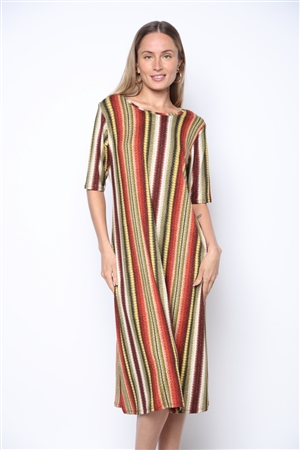 D1785 OLIVE/RUST SNAKESKIN PRINT 3/4 SLEEVE MIDI DRESS