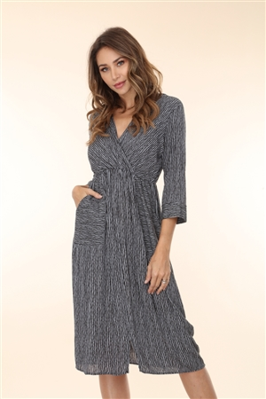 DT4638 GREY STRIPED WRAP MIDI DRESS
