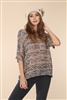 BLUE/GOLD STRIPE CROCHET KNIT BOAT NECL RELAXED FIT TOP  A8031