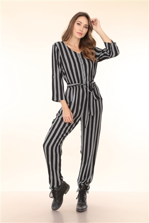 BY6426ST BLACK STRIPED JUMPSUIT