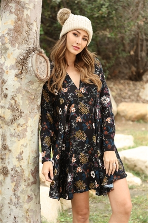 D5094 BLACK FLORAL PRINT SHIFT MIDI DRESS