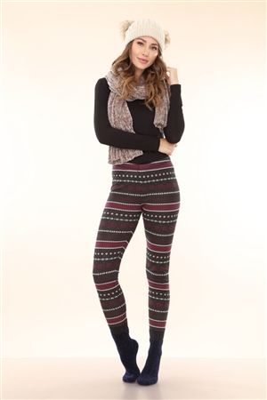 EGGPLANT FAIR ISLE PRINT KNIT LEGGINGS  RN116442  (1XS-2S-2M-1L)