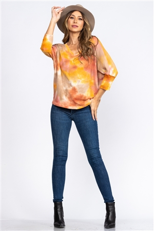 RUST WAFFLE KNIT TOP CT43653