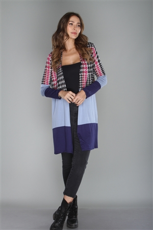 BLACK/NAVY HOUNDS TOOTH PRINT CARDIGAN  CT43532A  (2M, 2L, 3XL)