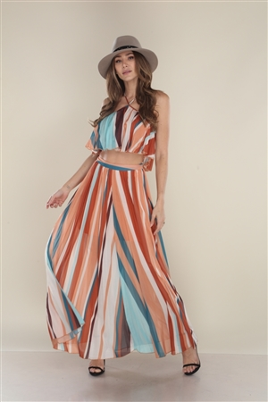 BURNT ORANGE AND TEAL MAXI SKIRT WITH TOP LTS5749