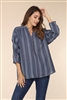 SPRUCE BLUE PENCIL STRIPESPRINT  TOP TT3051A