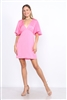 HOT PINK LOW CUT FLARE SLEEVES  MINI DRESS  ND002