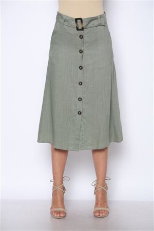 DUSTY OLIVE BELTED BUTTONS UP MIDI SKIRT  S2705  (3S-2M)