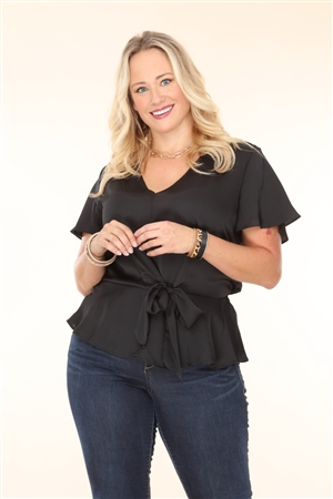 BLACK SATIN PLUS SIZE TOP  T2458X