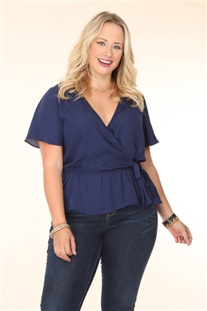 NAVY PLUS SIZE TOP  T2183XV