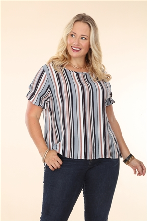 GREY/NAVY STRIPES PRINT PLUS SIZE TOP  T2250XR