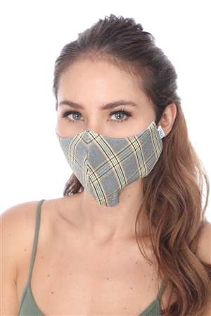 SW1000 YELLOW/BLACK PLAID FACE MASK
