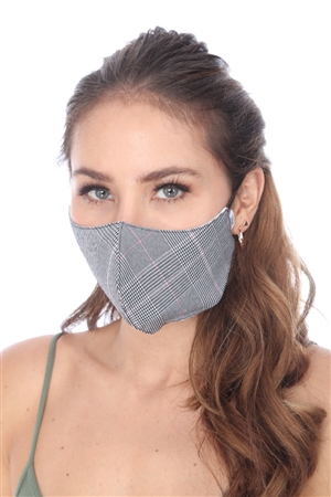 PINK PIN PLAID PRINT FACE MASK  SW1001  (6 PCS)