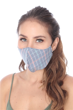 SW1008 NAVY PLAID PRINT FACE MASK