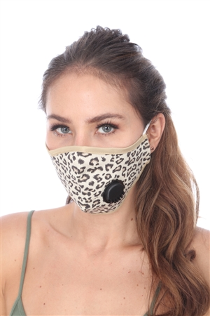 KHAKI ANIMAL PRINT FILTER FACE MASK  SW1025