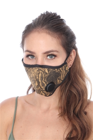 BROWN SNAKE PRINT FILTER FACE MASK  SW1026