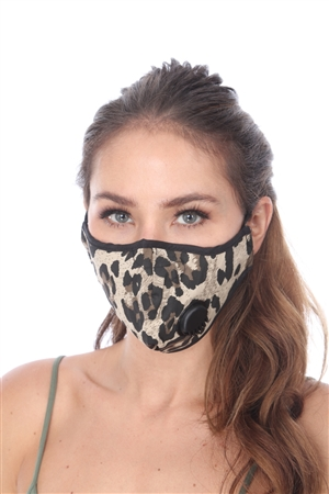 BROWN ANIMAL PRINT FILTER FACE MASK  SW1027
