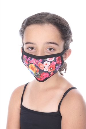 NAVY ROSE PRINT KIDS FACE MASK SW1041