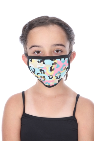 PINK/AQUA CHEETAH PRINT KIDS FACE MASK  SW1045