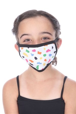 WHITE MULTI COLOR PRINT KIDS FACE MASK  SW1046