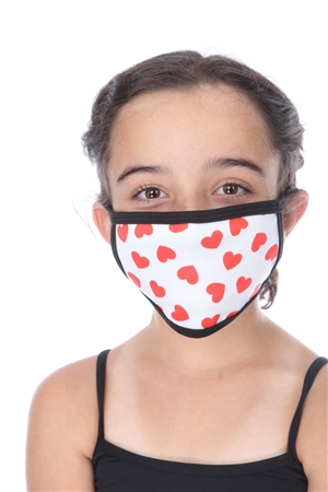 SW1048 HEARTS PRINT KIDS FACE MASK