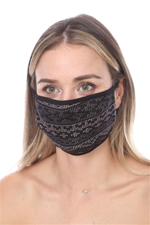 SW567(B) BLACK PRINT FACE MASK DOUBLE LAYER