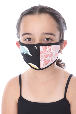 KIDS MASK-202 BLACK FLORAL PRINT  SW662