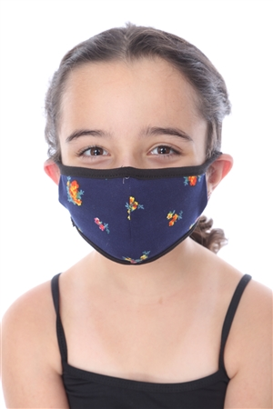 KIDS MASK-202 NAVY FLORAL PRINT  SW665