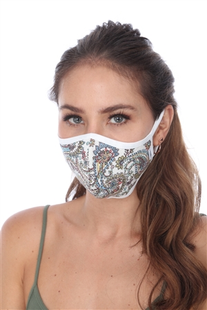 SW979 WHITE PAISLEY PRINT FACE MASK