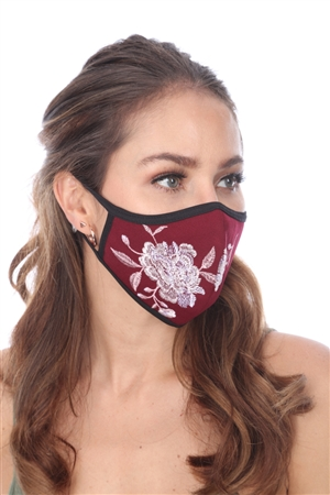 WINE FLOWER EMBROIDERED FACE MASK   SW996(B)