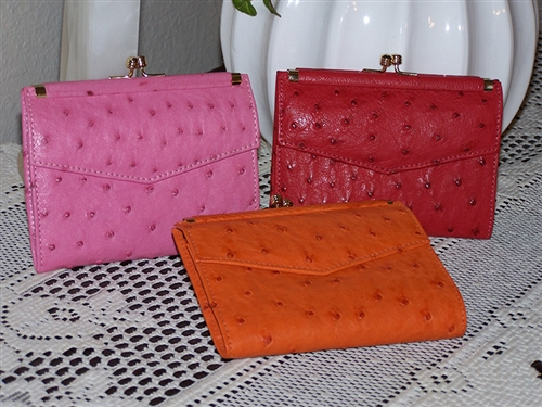 Ladies Ostrich Leather French Wallets For Sale  5c1ba07dafe5