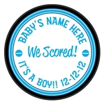 We scored! baby boy birth announcement hockey puck. What a unique idea to announce the birth of your baby. This is an official hockey puck, with a photo of your newborn. Give a special hockey birth announcement puck to show off your future pro.